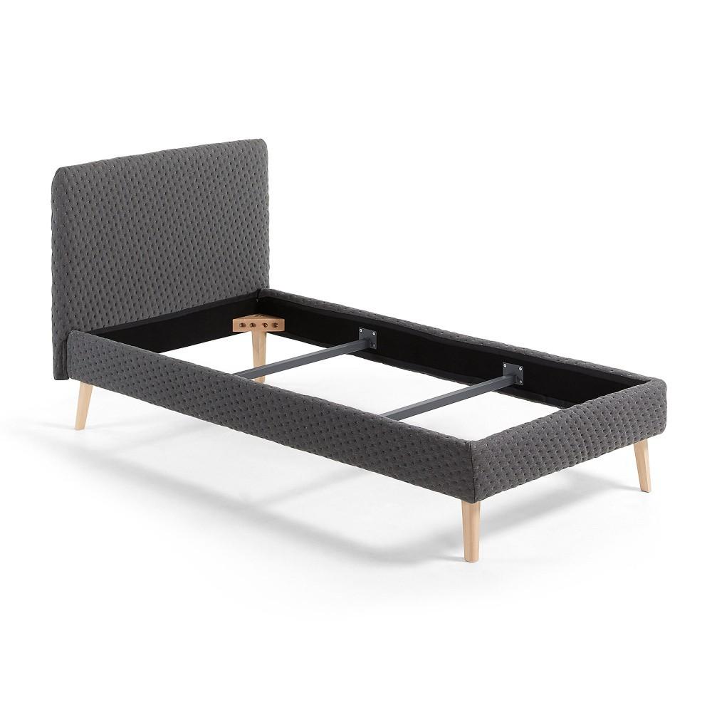 Tmavosivá jednolôžková čalúnená posteľ La Forma Lydia Dotted, 190×90cm