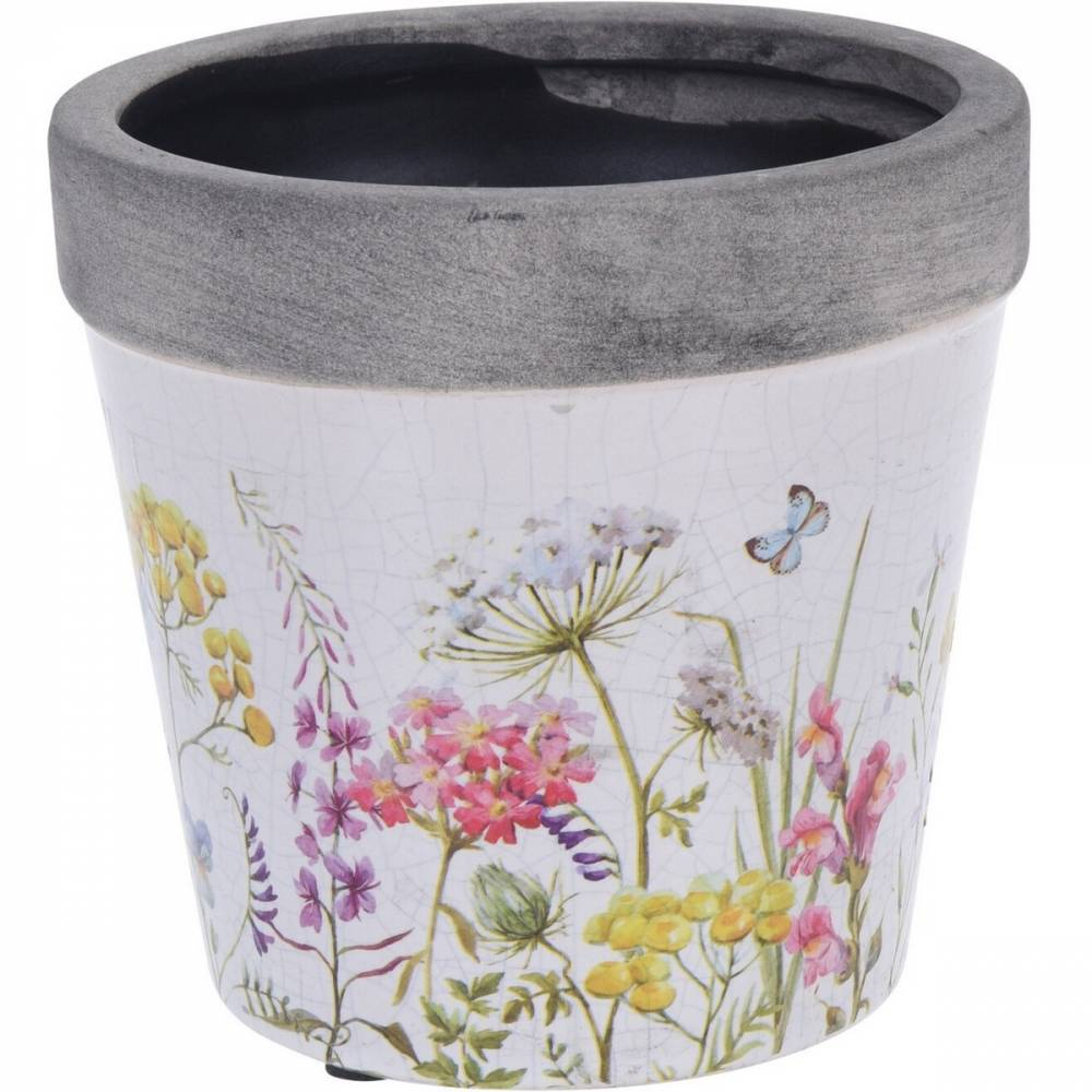 Keramický obal na kvetináč Spring Flowers, 12,5 x 12 cm