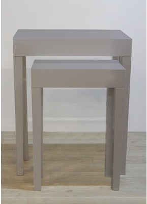 Set 2 odkladacích stolíkov LINEA S - sivá