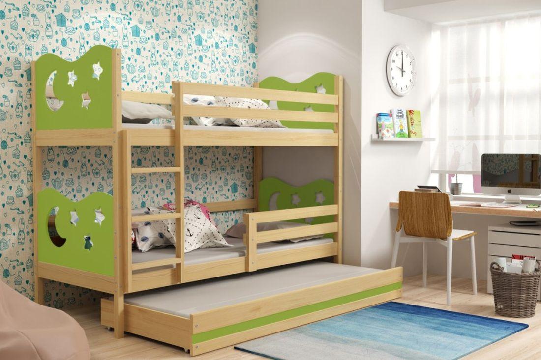 Poschodová posteľ KAMIL 3 + matrac + rošt ZADARMO, 90x200, borovica/zelená