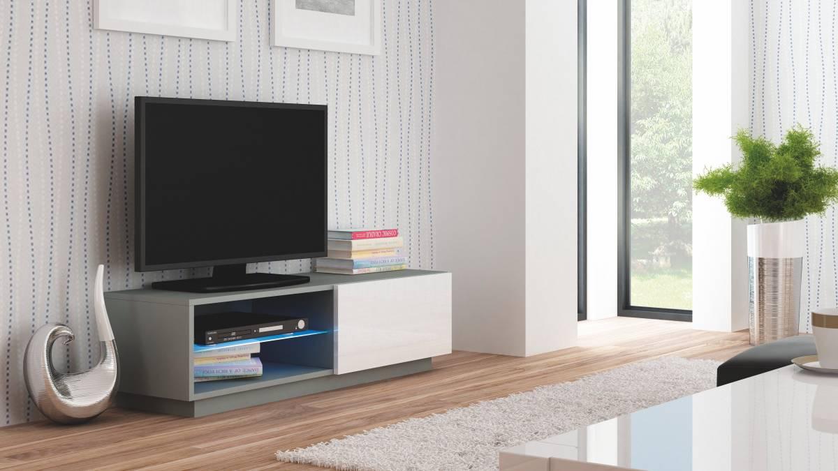 TV stolík/skrinka Livo RTV-120S (sivá + lesk biely)