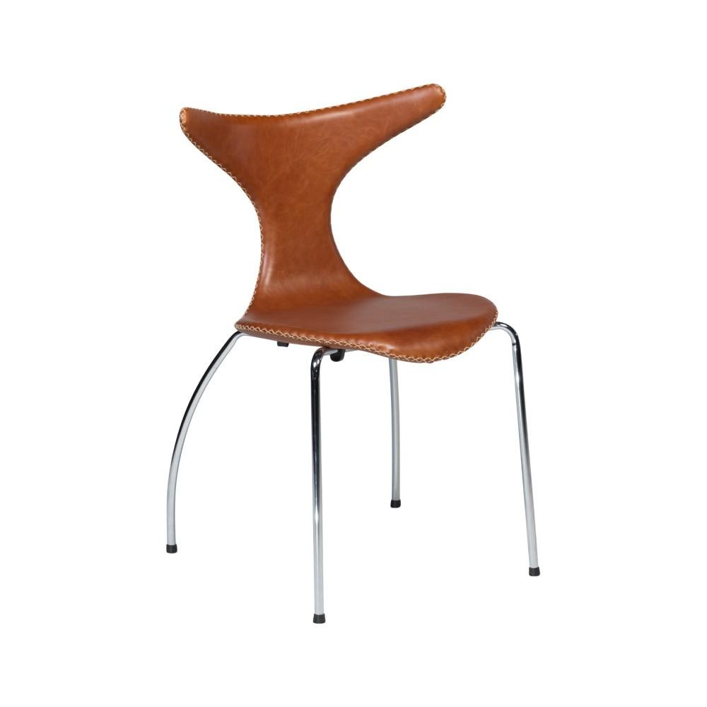 Hnedá kožená jedálenská stolička s pochrómovanou podnožou DAN–FORM Dolphin