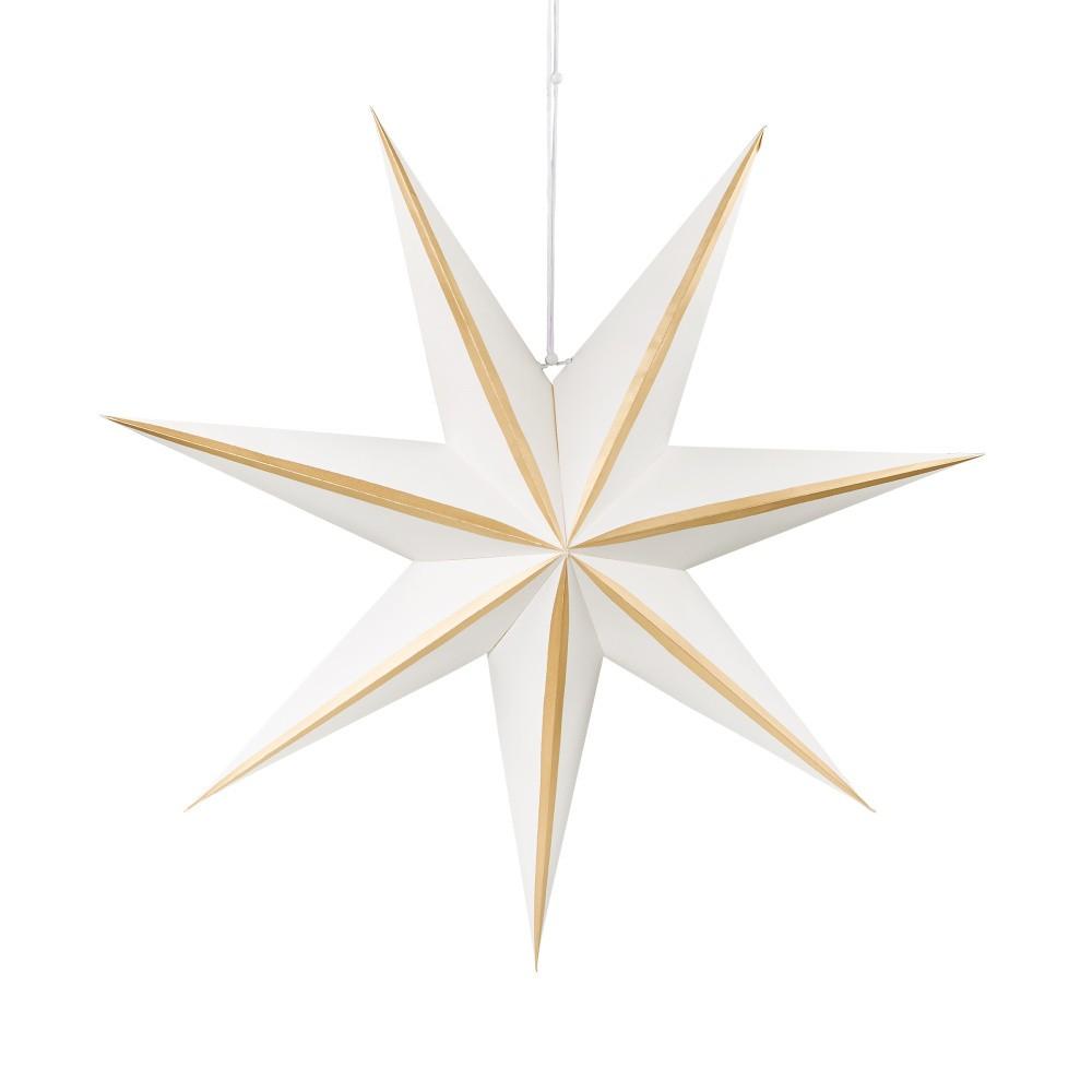 Bielo-zlatá papierová dekoratívna hviezda Butlers Magica, ⌀ 60 cm