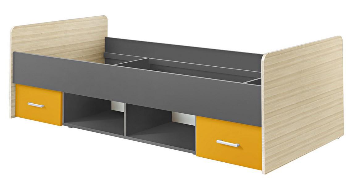 Jednolôžková posteľ 90 cm Paulina šafrán MOB-5065
