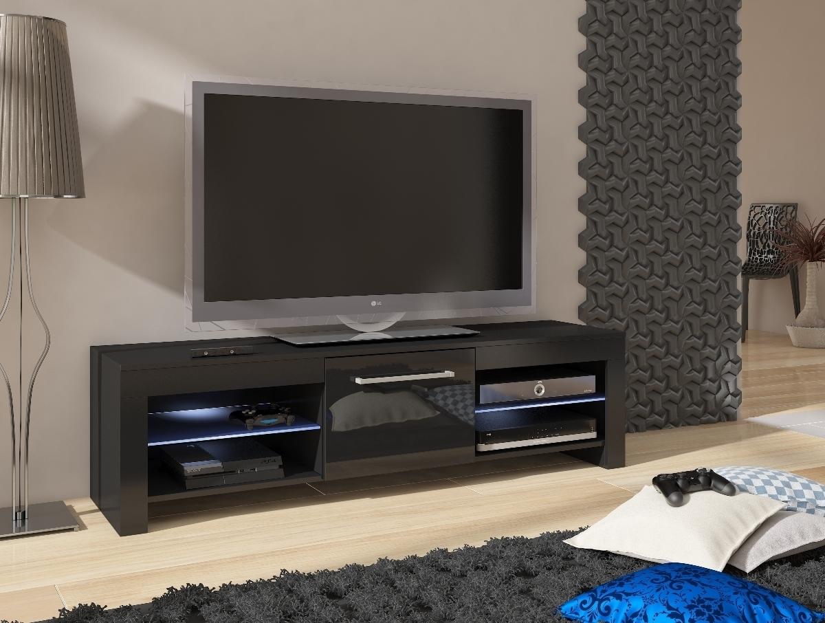 WIP FLEX TV stolík - čierna / čierny vysoký lesk