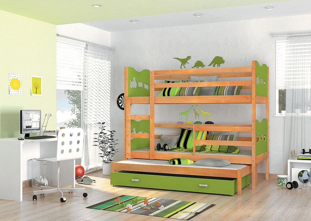1bc669d21022c Detská poschodová posteľ Max 3 / jelša Farba: Zelená, Prevedenie: srdiečka