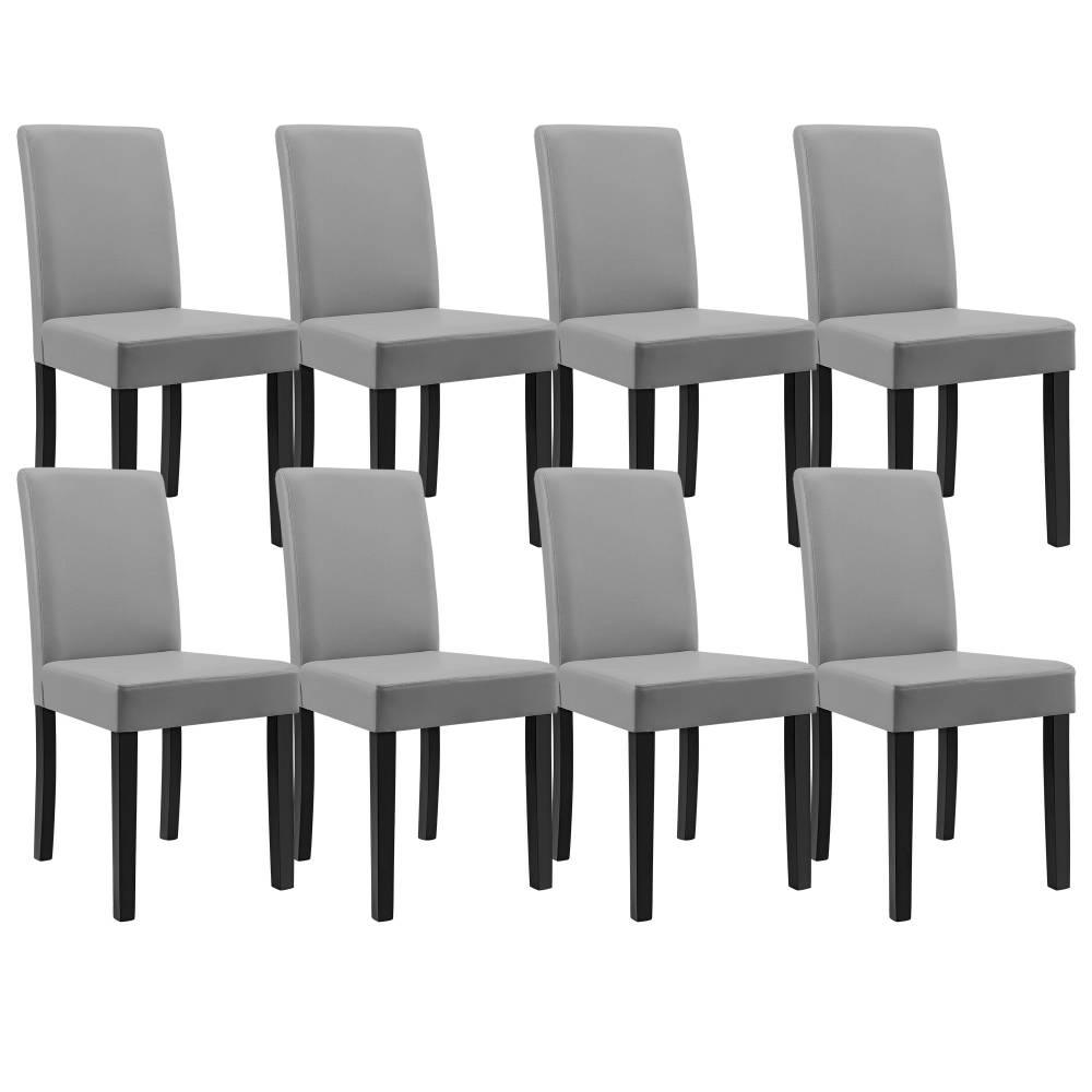 [en.casa]® Sada elegantných čalúnených stoličiek - 8 ks - svetlo sivé
