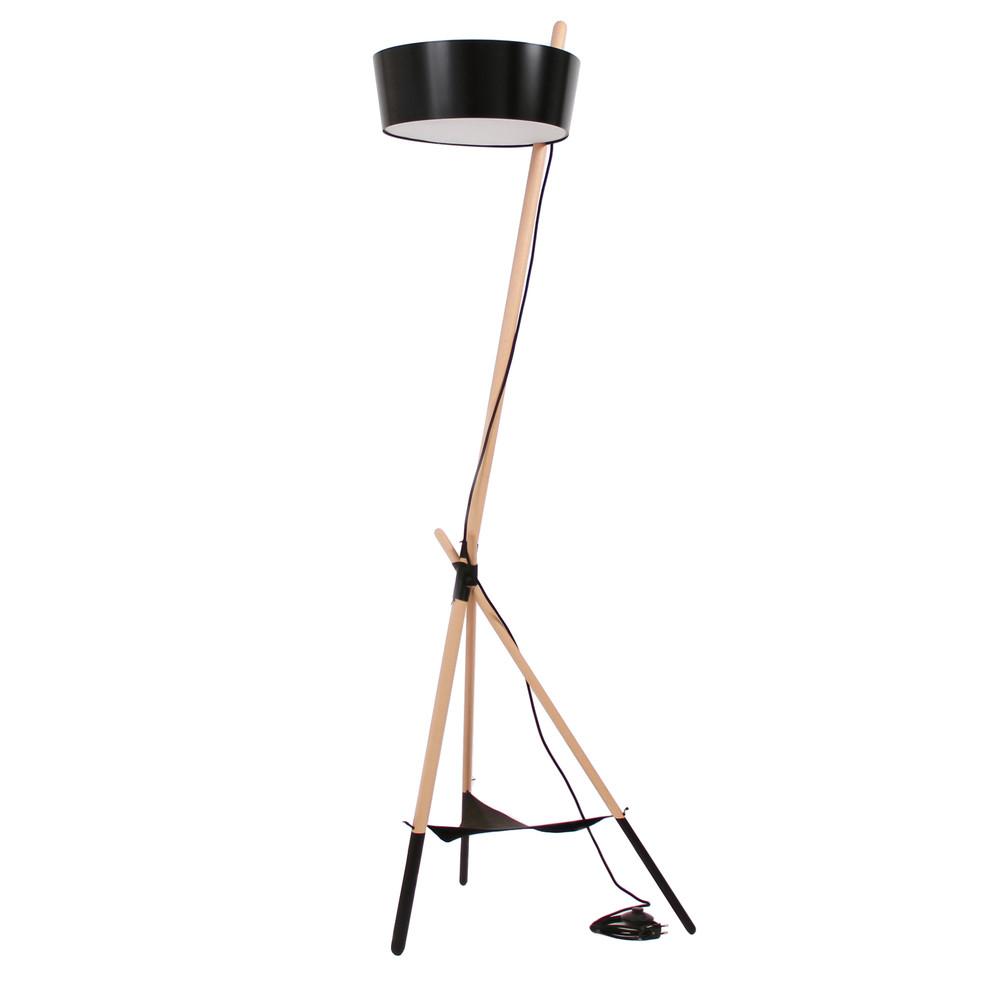 Čierna voľne stojacia lampa s odkladacím priestorom Woodendot Ka Large