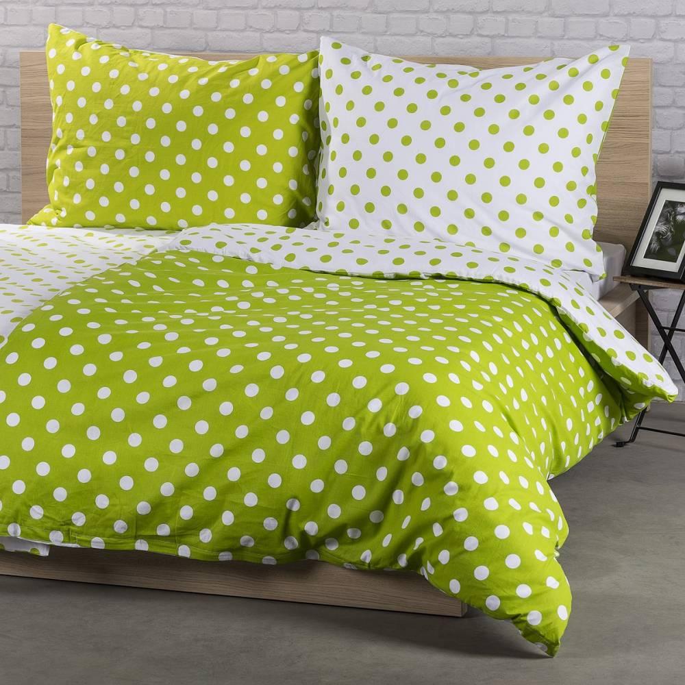 4Home Bavlnené obliečky Zelená bodka, 140 x 220 cm, 70 x 90 cm