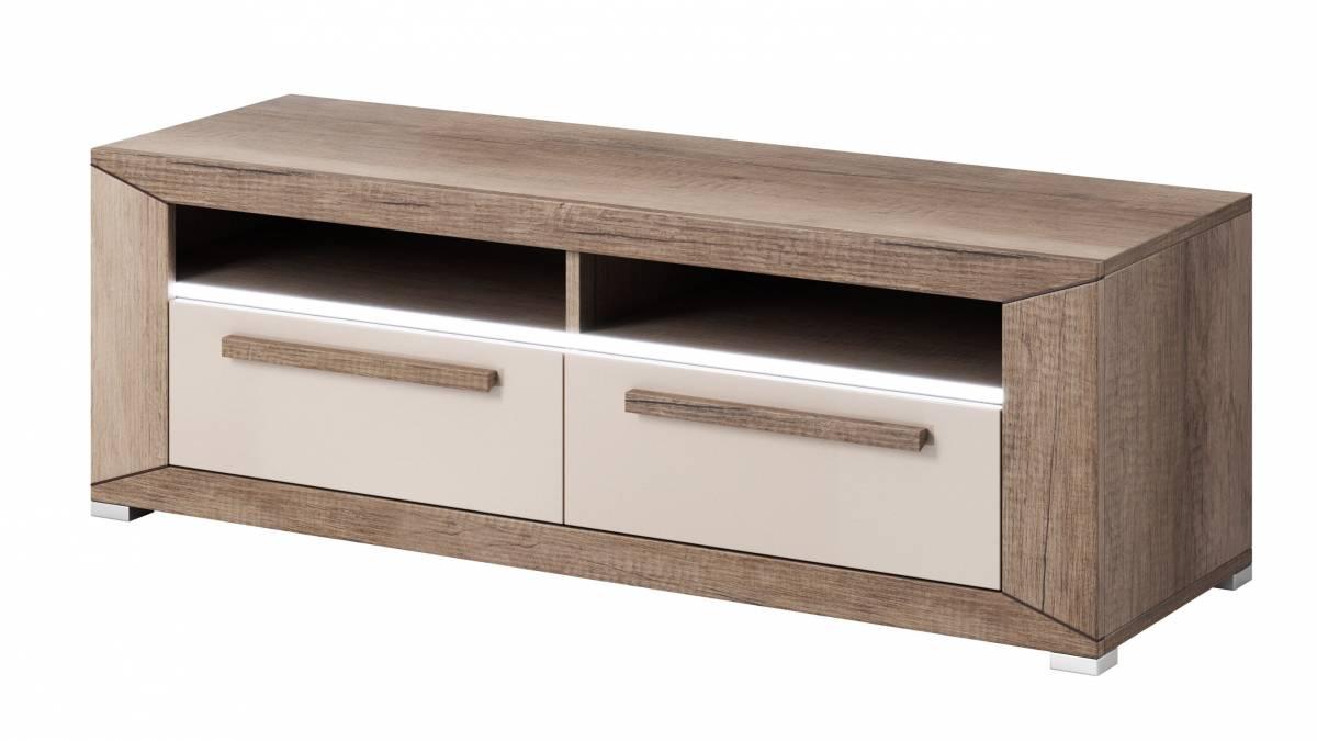 TV stolík/skrinka Typ 41 (dub canyon monument + lesk sivý pieskový)