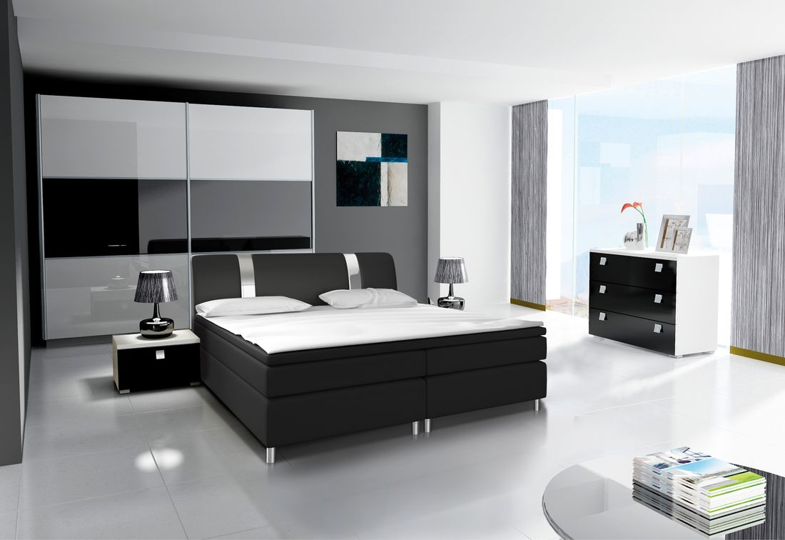 Ložnicová sestava AGARIO III (2x noční stolek, komoda, skříň 200, postel AGARIO III 180x200), bílá/černá lesk