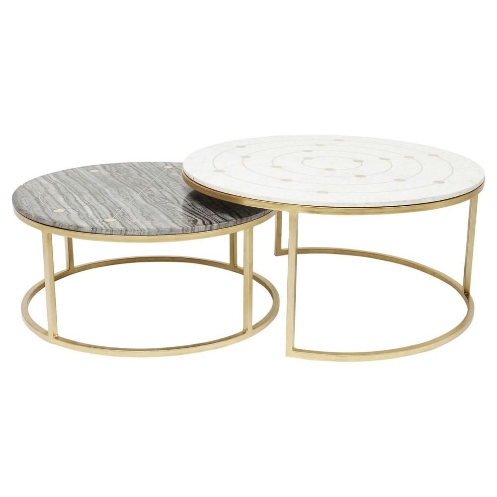 Sada 2 konferenčných stolíkov s mramorovou doskou Kare Design Mystic