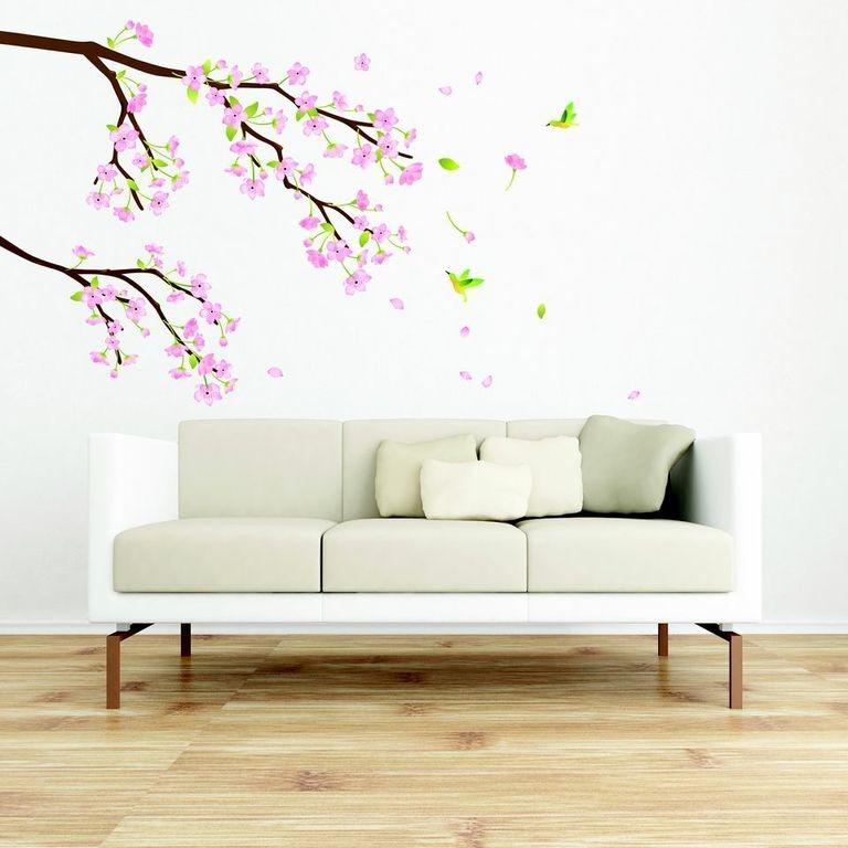 Samolepka Ambiance Tree Branch Pink Flowers