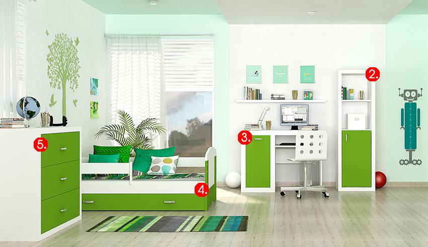 Detská izba FILIP COLOR / so zásuvkou   Farba: biela / zelená