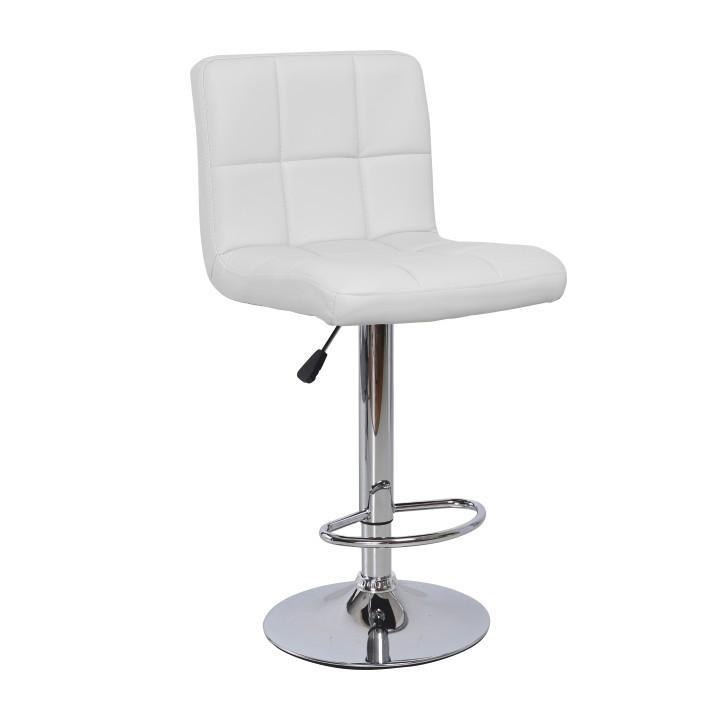 TEMPO KONDELA Barová stolička, biela ekokoža/chróm, KANDY NEW