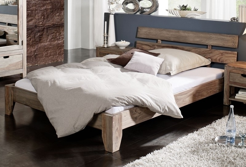 NATURE GREY #213 Sheesham posteľ 200x200, masívne palisandrové drevo