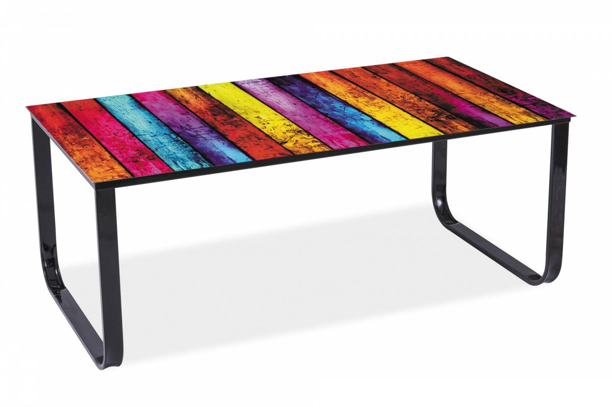 Konferenčný stolík Taxi II (čierna + grafika mix color)
