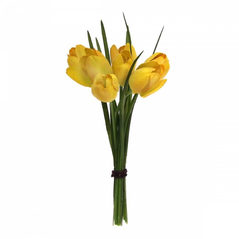 Umelá kvetina Tulipány žltá, 23 cm