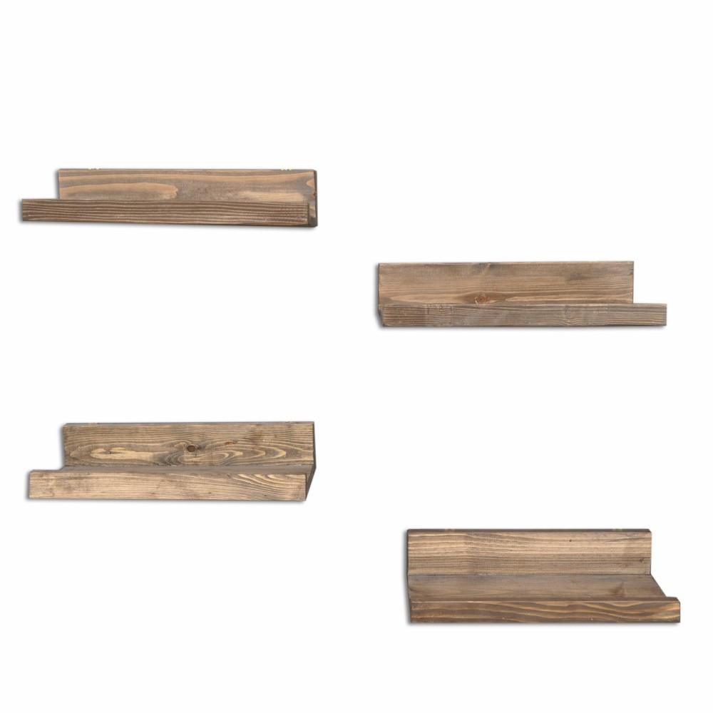 Sada 4 drevených nástenných políc Simple