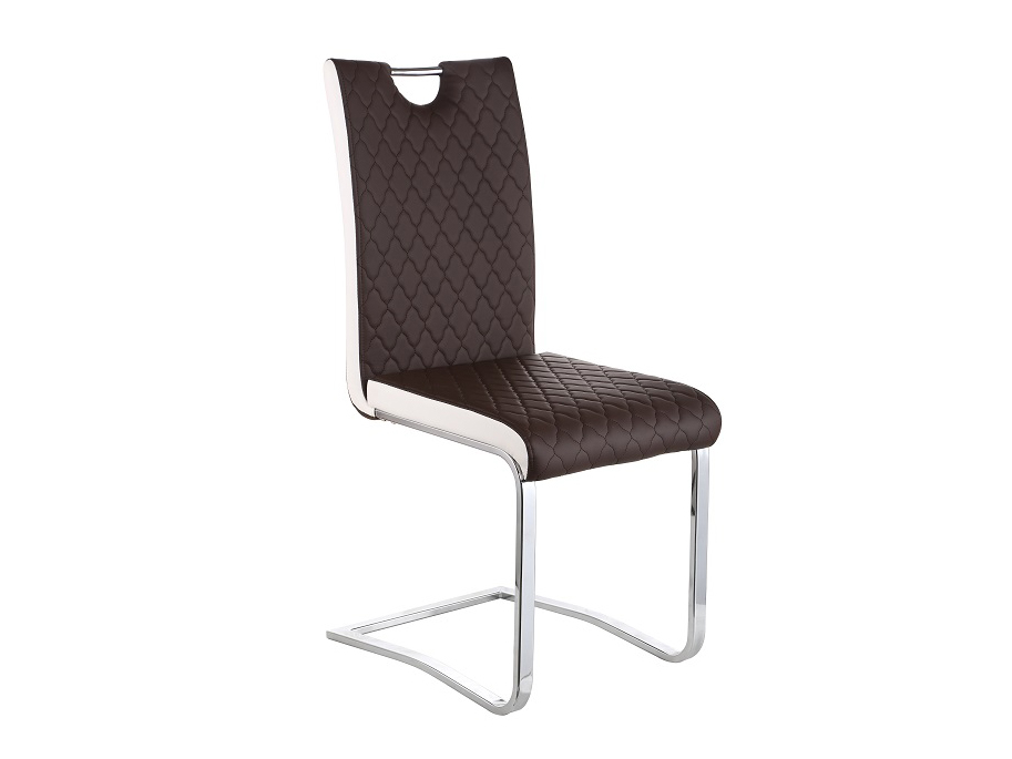 Jedálenská stolička Imane (hnedá + biela + chróm)