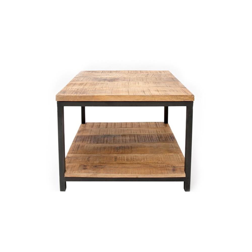 Čierny konferenčný stolík s doskou z mangového dreva LABEL51 Vintage, 60 x 60 cm