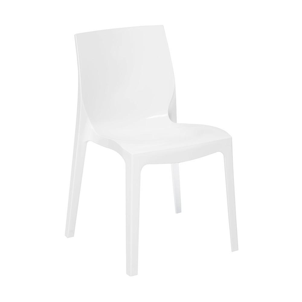 Biela lesklá stolička Esidra Felix