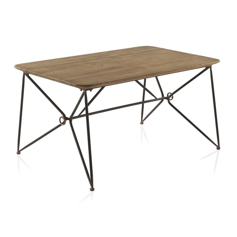 Jedálenský stôl s kovovou konštrukciou a drevenou doskou Geese, 150 x 90 cm
