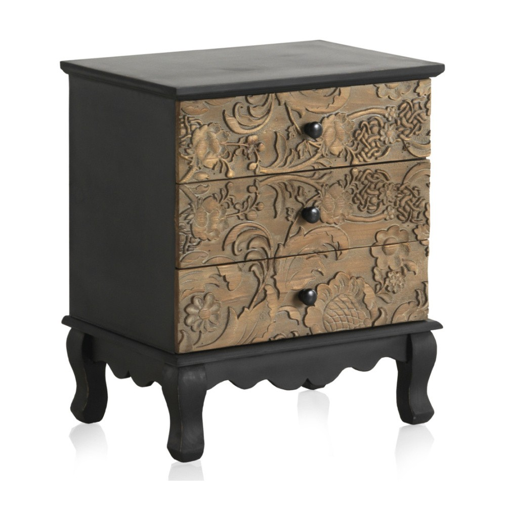 Drevený nočný stolík s 3 zásuvkami Geese Fionne