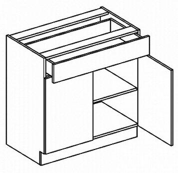 D80/S1 dolná skrinka so zásuvkou MYA, picard/biely lesk