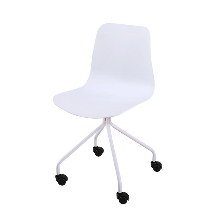 Stolička, biela, plast+kov, DANELA