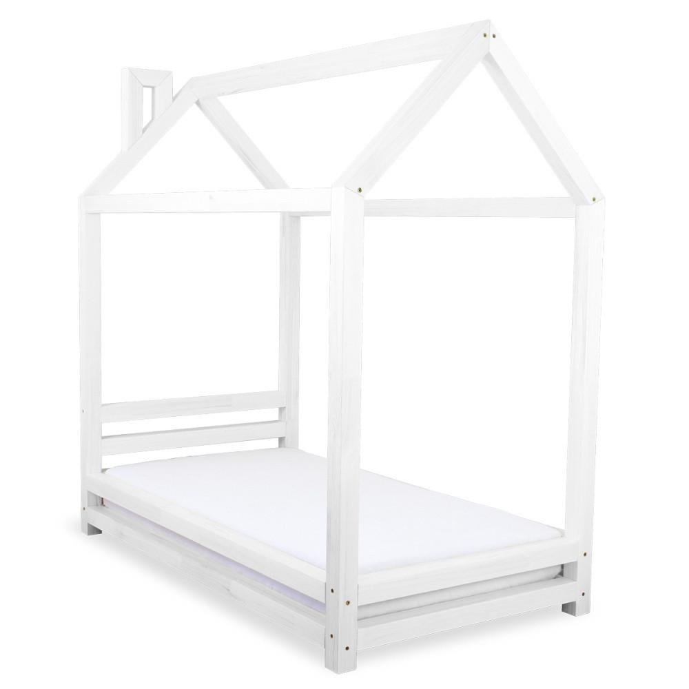 Detská biela posteľ zborovicového dreva Benlemi Happy, 90x160cm