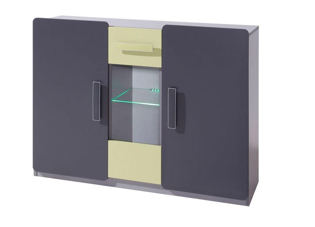 Komoda FIGARO 3D, 91x120x42 cm, grafit/zelená, biely LED