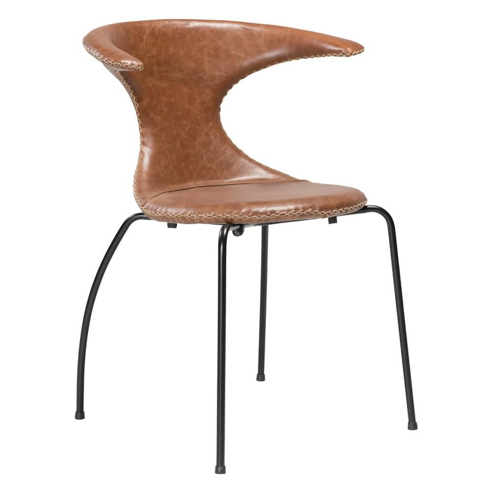 Hnedá kožená jedálenská stolička s čiernou kovovou podnožou DAN–FORM Flair