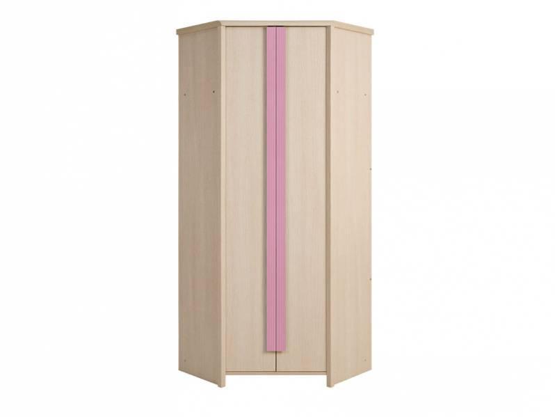 Rohová šatníková skriňa Caps SZFN2D   Farba: dub jasný belluno/ ružová