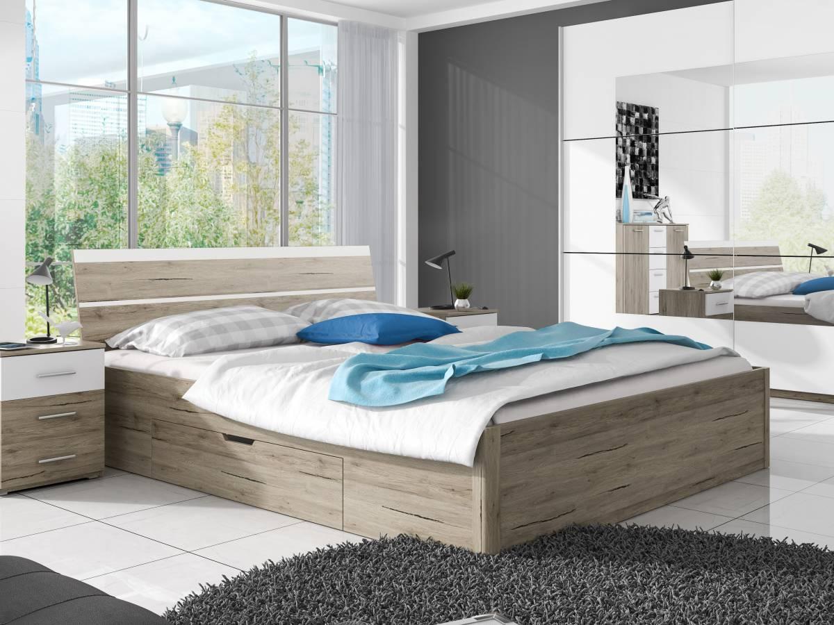 Manželská posteľ 180 cm Typ 52 (san remo svetlý + biela)