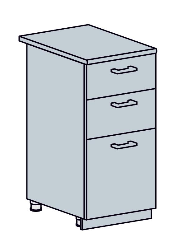 PRAHA dolná skrinka so zásuvkami 40D3S, biela/biele drevo