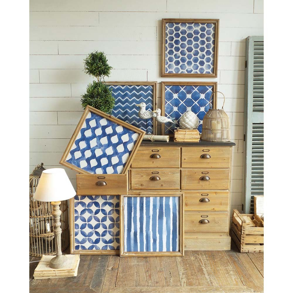 Set 6 obrazov v drevených rámoch Orchidea Geometrical Blue