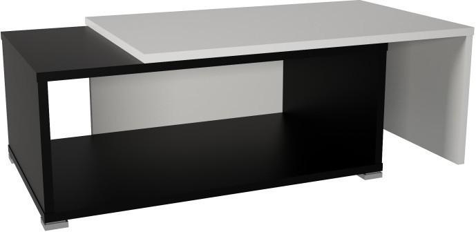 Konferenčný stolík, rozkladací, biela/čierna, DRON