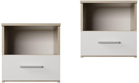 Nočný stolík, 2 kusy, dub sonoma/biela, GABRIELA