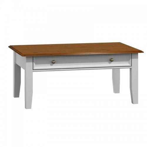 Biely nábytok Belluno Elegante drevený konferenčný stolík, dekor biela-orech, masív, borovica