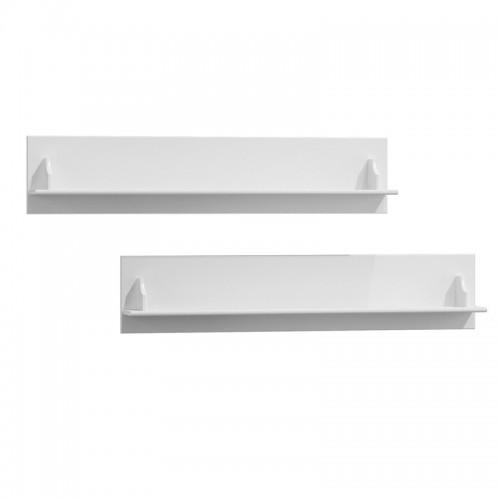 Biely nábytok Biele drevené police z masívu Belluno Elegante, 2ks