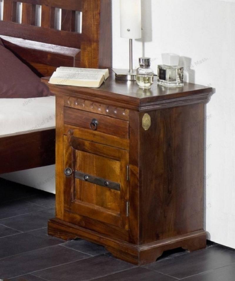 Bighome - CAMBRIDGE  Koloniálny nočný stolík, masívny akáciový nábytok