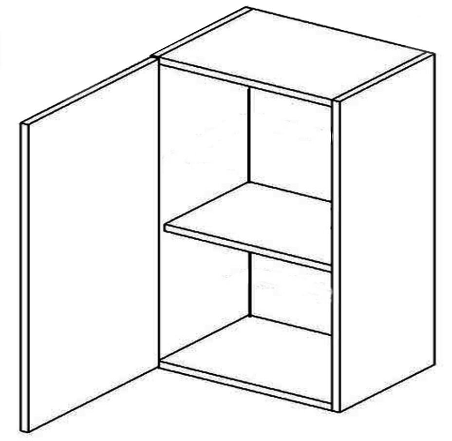 W60 horná skrinka jednodverová MYA, picard/biely lesk