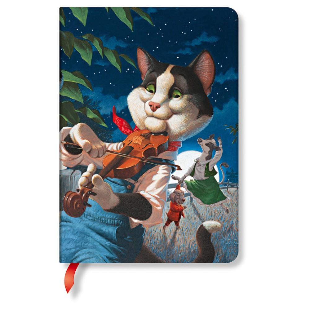 Linkovaný zápisník s tvrdou väzbou Paperblanks Cat and the Fiddle, 12 x 17 cm