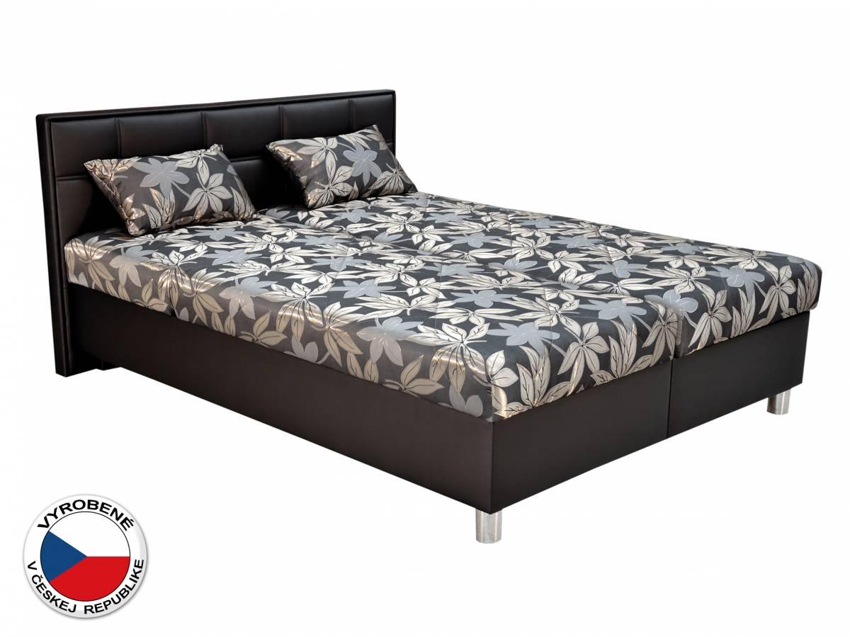 Manželská posteľ 180 cm Blanár Belfast (sivá + čierna) (s roštami a matracmi)