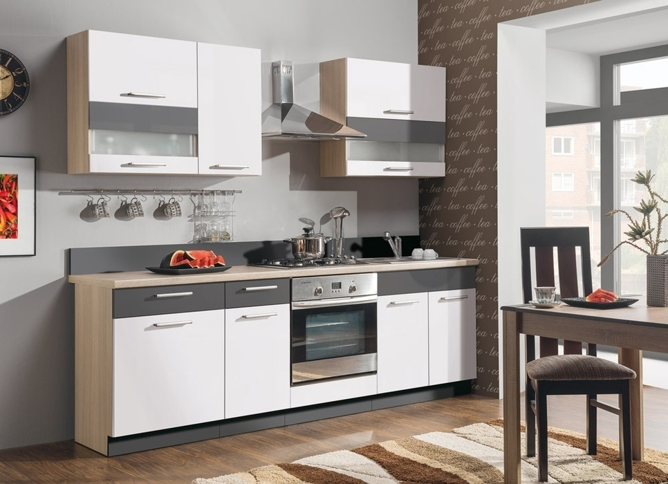 BOG-FRAN MODENA 240 MDF kuchyňa - biely lesk / grafit mat