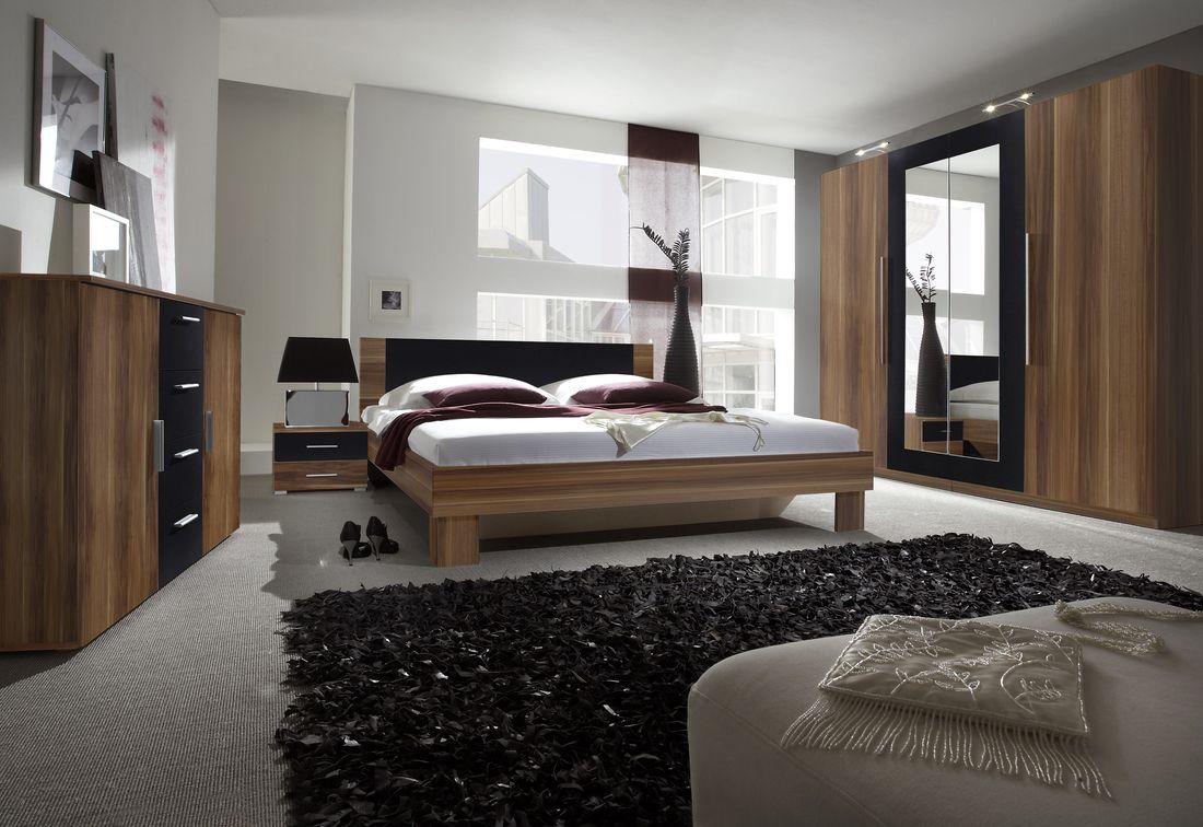 ERA - Ložnicová zostava - skriňa (20), posteľ 160 + 2x nočný stolík (51), komoda (26), orech červený/čierny
