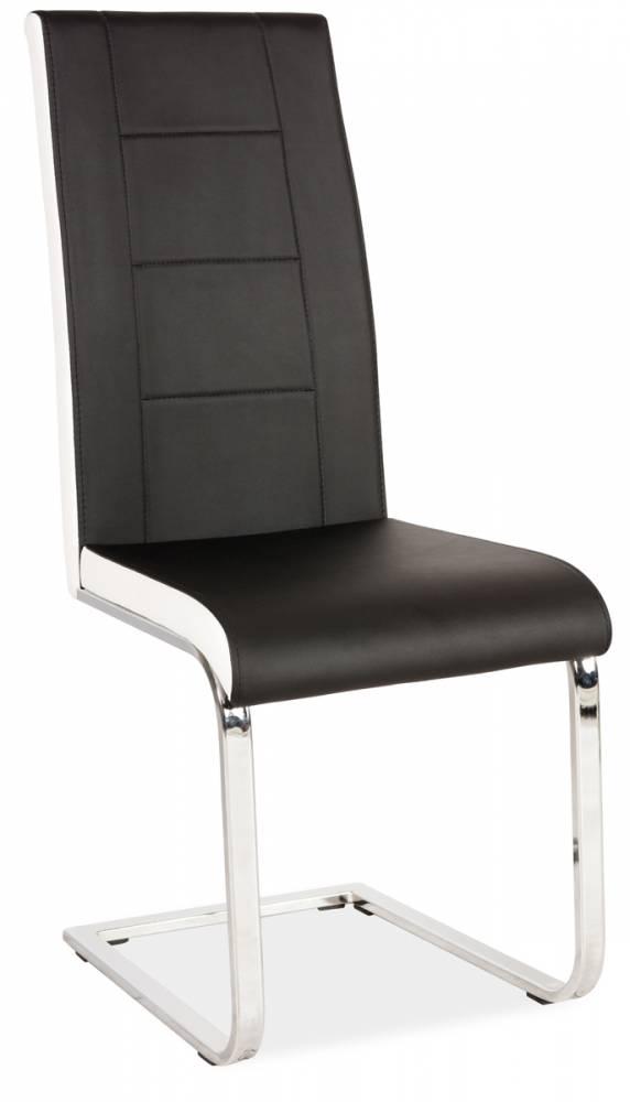 HK-629 jedálenská stolička, čierna s bielymi bokmi