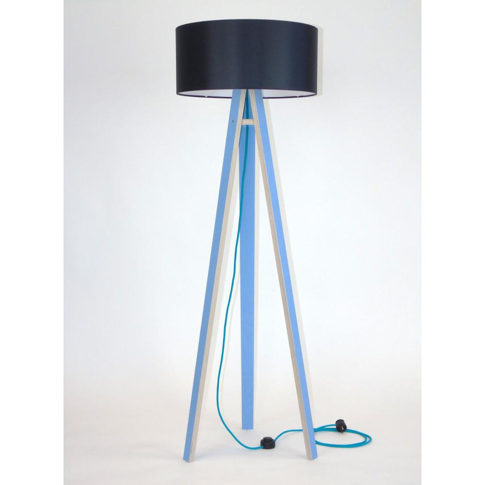 Modrá stojacia lampa s čiernym tienidloma tyrkysovým káblom Ragaba Wanda