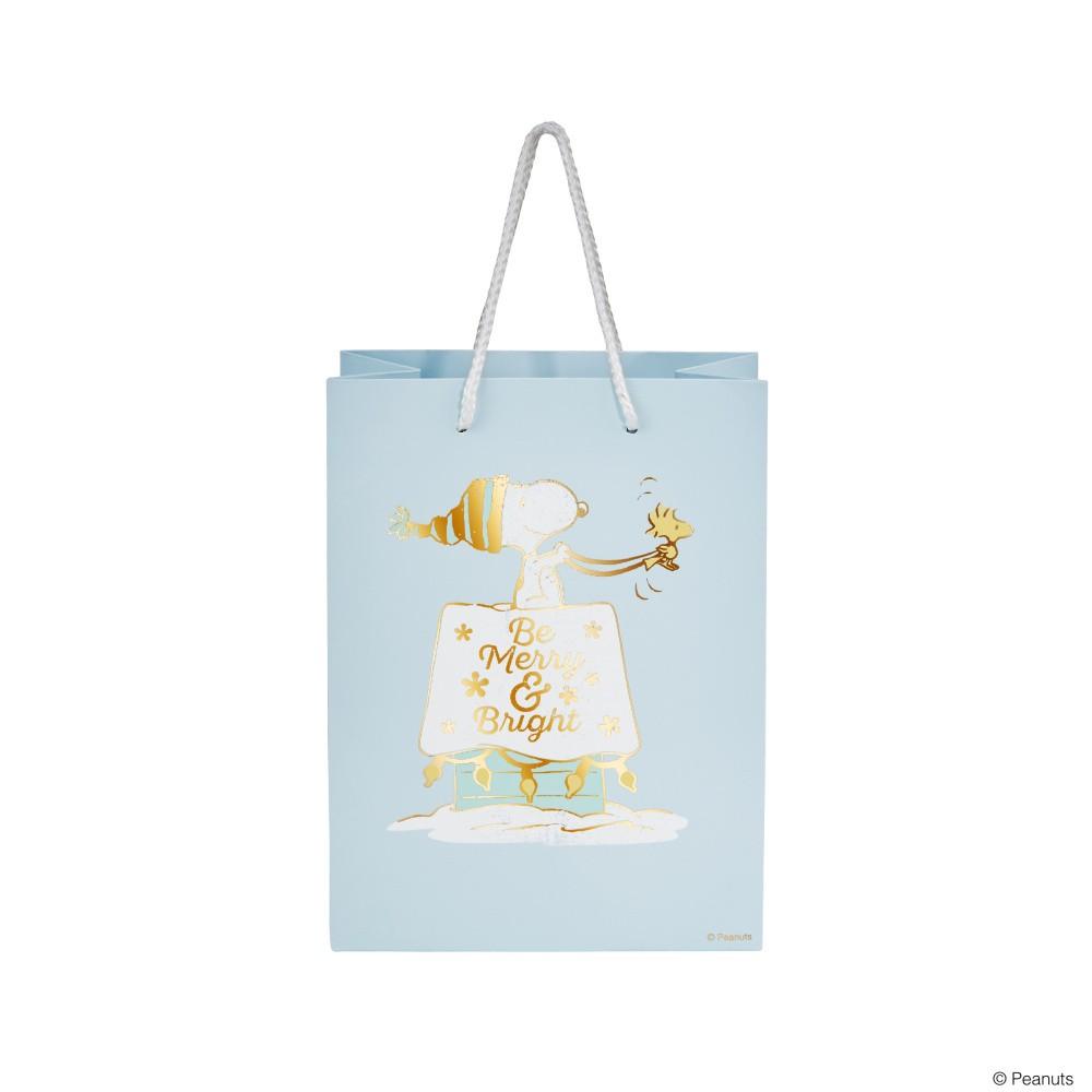 Svetlomodrá darčeková taška Butlers Merry, výška 9,2 cm